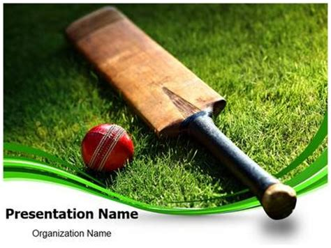 cricket bat and ball powerpoint template background