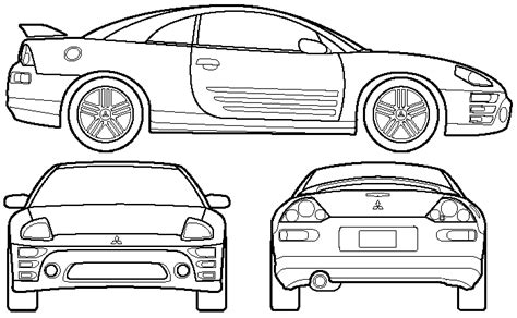 mitsubishi eclipse drawing car blueprints mitsubishi eclipse iii blueprints vector