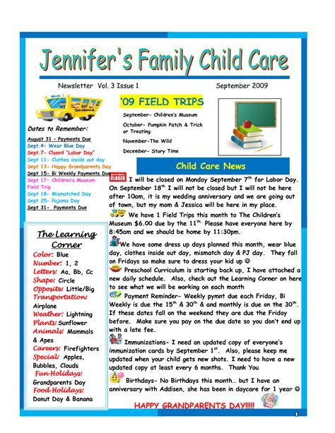 daycare newsletter templates best photos of day care newsletter templates sle