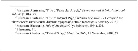 format of footnote reference citations and bibliographies