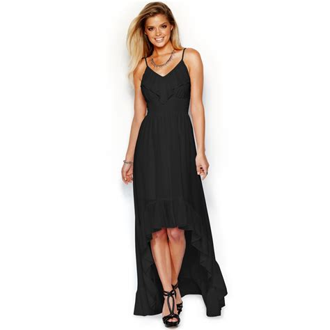 Mira Dress Dress Longdress Dress Terbaru Maxi Dress lyst guess sleeveless ruffled highlow maxi dress in black