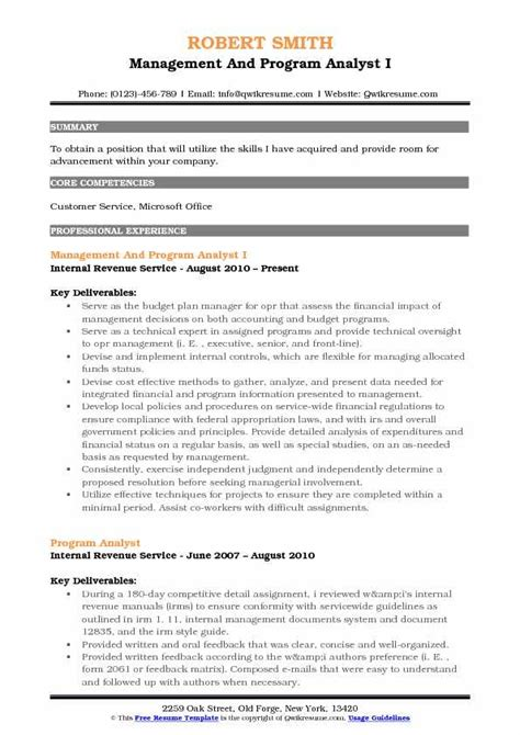 Program Analyst Resume by Management And Program Analyst Resume Sles Qwikresume