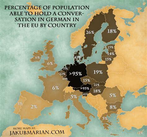 map of europe in german map of the percentage of speaking german in the eu