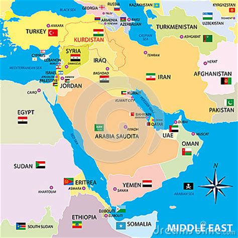 middle east map through time middle east map with borders and flags stock illustration