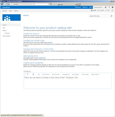 sharepoint 2013 preview product catalog site template