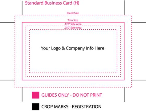 business card template dimensions standard business card size