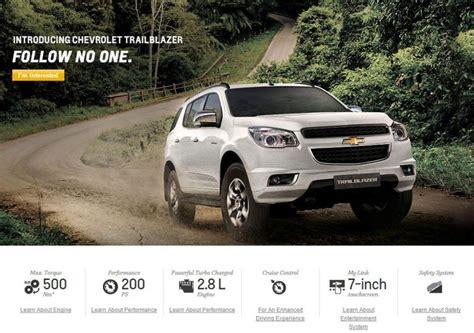 trailblazer listed  chevrolet india website october  launch gaadikey