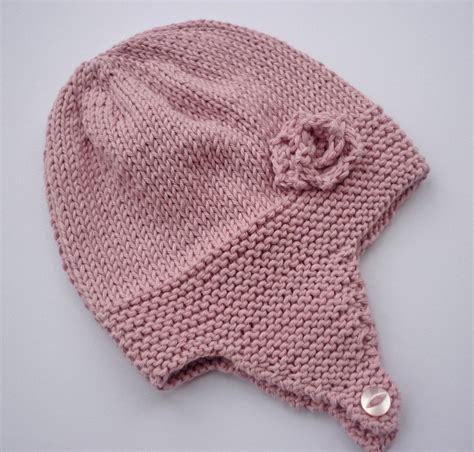 free knitting patterns for baby hats knitting pattern baby earflap hat with flower by