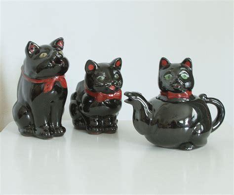 Black Cat Set mid century shafford black cat tea set 3 tea set cat