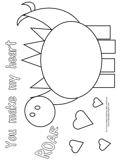 free coloring pages of dinosaur valentine