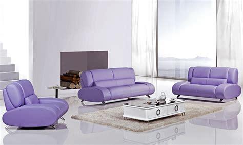 Rita Purple Leather Modern Sofa