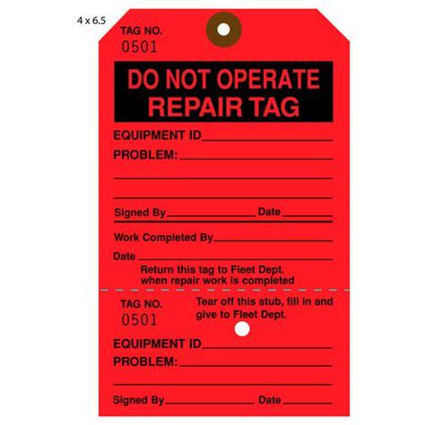 printable equipment tags custom printed repair repairable hang tags st louis tag