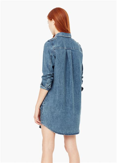 Patched Denim Dress Mango mango denim shirt dress in blue lyst