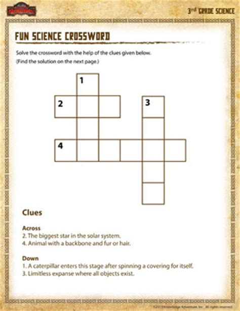 Science Worksheets For 3rd Grade Free by Science Crossword Free 3rd Grade Science Worksheets