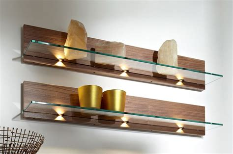 wall shelves with lights appealing wall mount lighting floating shelf glass and