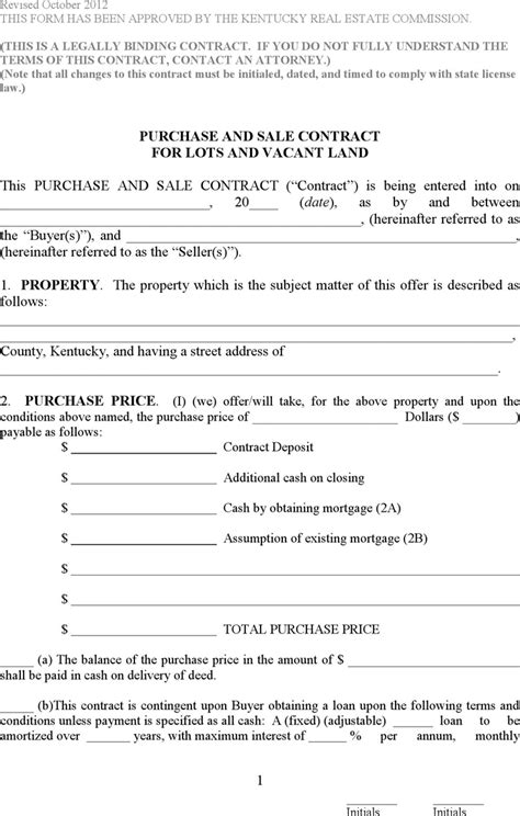 Offer To Purchase Contract Template by Free Kentucky Purchase And Sale Contract For Lots And
