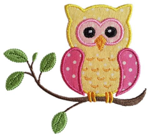 owl embroidery design applique instant download owl on the branch applique machine embroidery