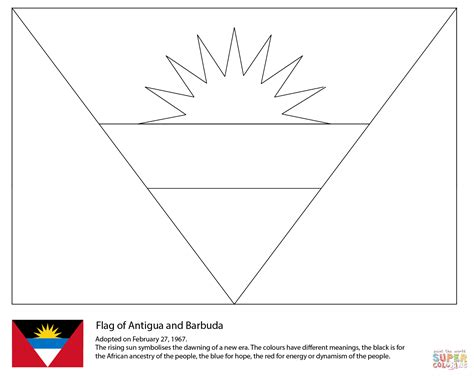 Flag Of Antigua And Barbuda Coloring Page Free Printable Central America Caribbean Flags Coloring Pages