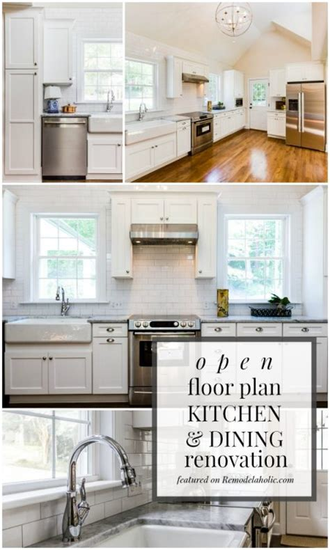 White Kitchen And Dining Room by Remodelaholic Open Plan Kitchen And Dining Room