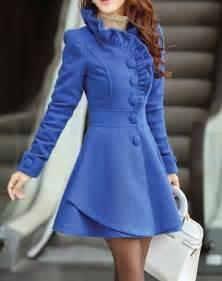 blue wool women coat women dress coat apring autumn winter
