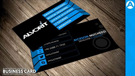 business cards professional design professional business card design blue 3d project in coreldraw creative arts