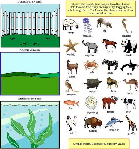printable worksheets about animal habitats animal classification preschool ideas farm animals