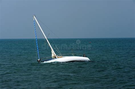 sailboat adrift boat adrift on adriatic sea stock photo image of