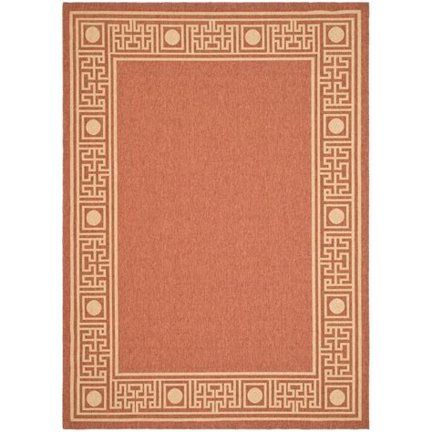 safavieh cy5139a courtyard indoor outdoor area rug rust lowe s canada safavieh courtyard rust sand 4 ft x 5 ft 7 in indoor outdoor area rug cy5143a 4 the home depot