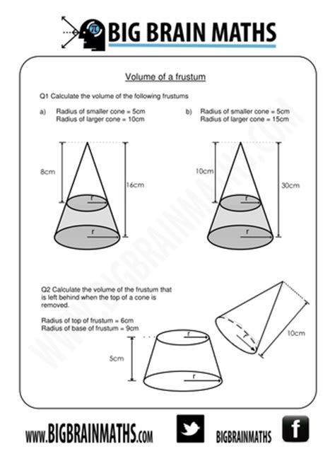 volume and surface area of cone worksheet volume and surface area of cones and frustums by busybob25 teaching resources tes