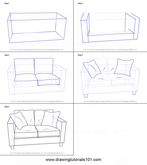 how to draw a couch step by step how to draw love seats sofa printable step by step