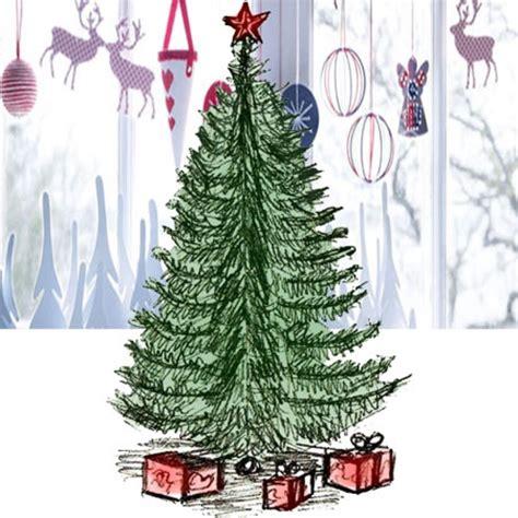 realistic christmas tree drawing designcorner