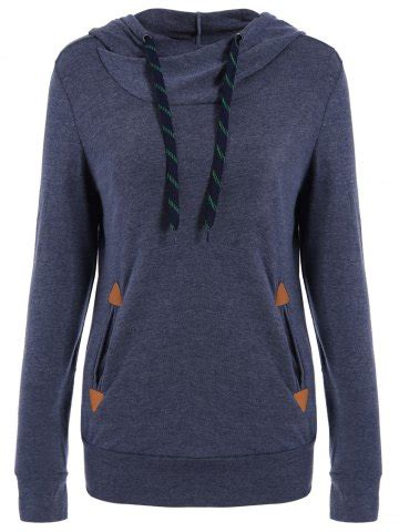 stylish pocket design embroidered hoodie purplish blue stylish hooded long sleeve pocket design