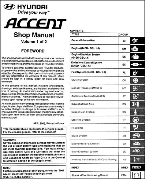 how to download repair manuals 2007 hyundai accent engine control 2007 hyundai accent repair shop manual 2 volume set original