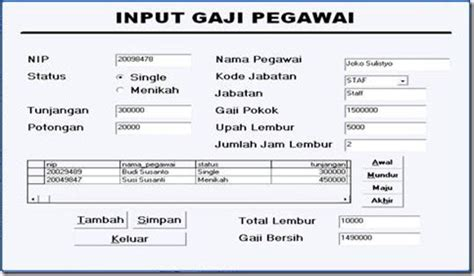 form slip gaji karyawan download input gaji karyawan vb1 tutorial visual basic