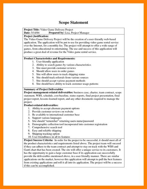 Best Of 7 Sle Scope Statement Techmech Co Best Of 11 Project Scope Statement Sle Scope Statement Template