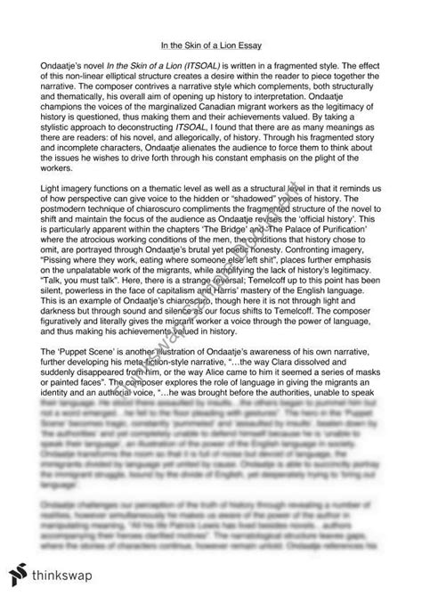 In The Skin Of A Essay by Michael Ondaatje In The Skin Of A Hsc Module B Essay Year 12 Hsc Advanced