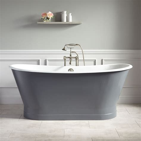 stainless steel bathtub 67 quot kateryn bateau cast iron skirted tub