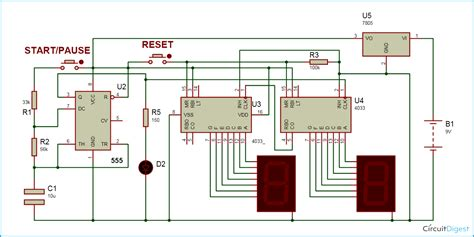 digital stopwatch circuit diagram часы таймер