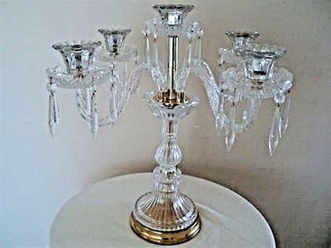 Chandelier Candle Holders Chandelier Glass Candle Holder Candelabra W Gold Accents Ebay