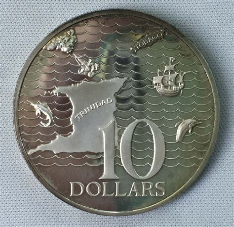 10 Dollar Silver Coin by 1973 And Tobago 10 Dollars 925 Silver Coin