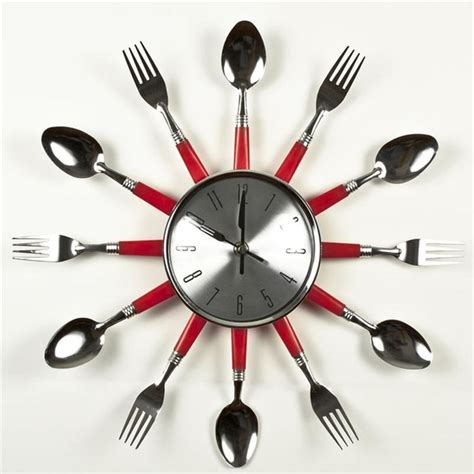 red utensil flat kitchen wall clock 30 creative and stylish wall clock designs themescompany