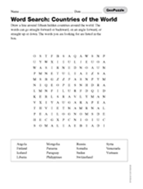 printable word search countries of the world word search countries of the world printable 3rd 8th