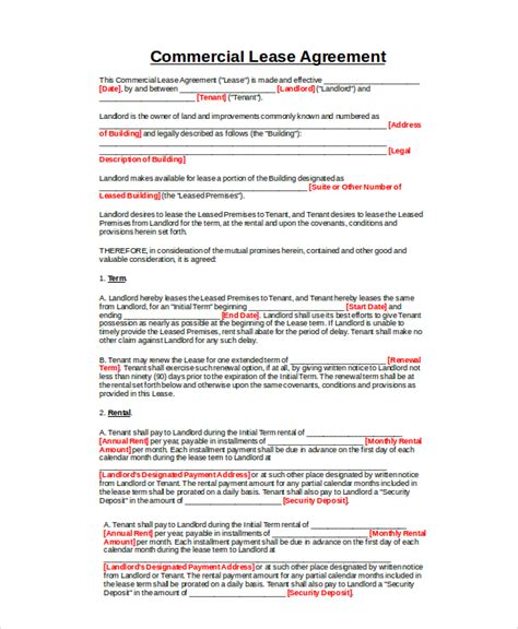 Commercial Lease Agreement 10 Free Pdf Word Documents Download Free Premium Templates Commercial Property Lease Template