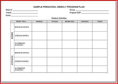 the creative curriculum for preschool lesson plan template