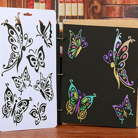 New Diy Craft Butterfly Stencils Template Painting Scrapbooking Sts Album Ebay Stencil Templates For Painting