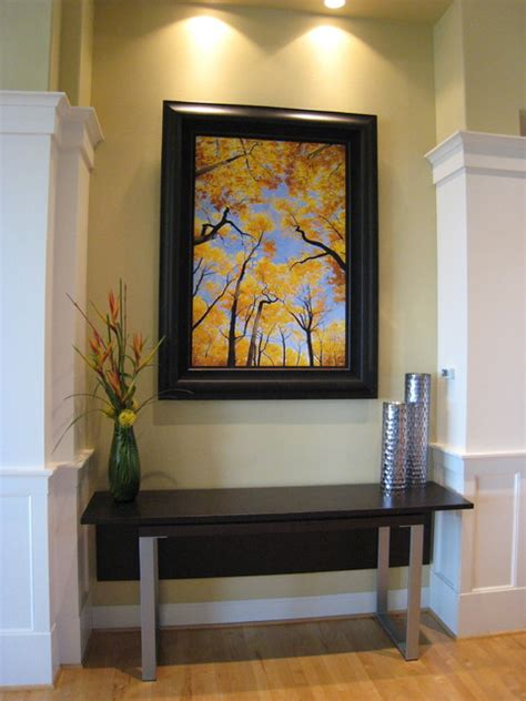 entryway with contemporary extendable console table