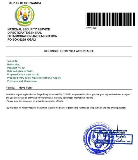 Visa Acceptance Letter Sle Business Procedures In Rwanda