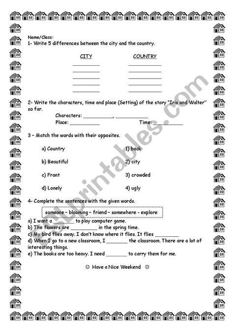English worksheets: Reading Street 2.1 Iris and Walter