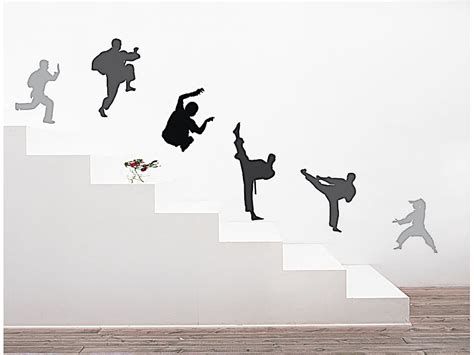 Aufkleber Von Glatter Oberfläche Entfernen by Infactory Sticker Set Wand Tattoo Quot Kung Fu Fighter Quot 25