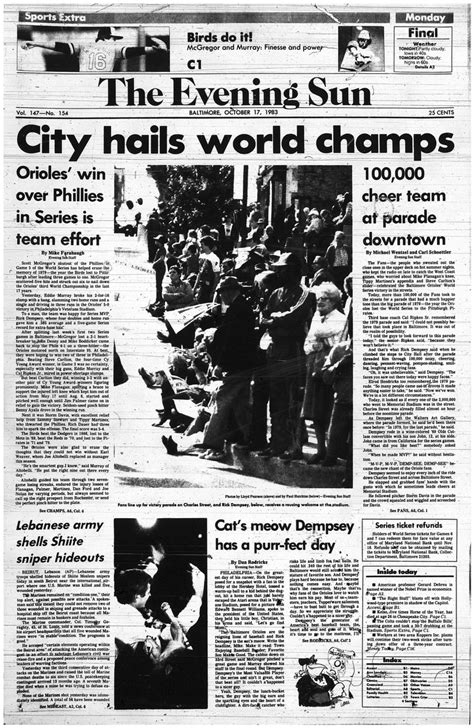 Front pages from The Evening Sun: ceased printing 20 years ago